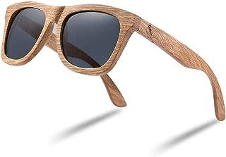 Tayope Wood Sunglasses for Men, Polarized Women Wooden Bamboo Sunglasses in Original Engraved Box