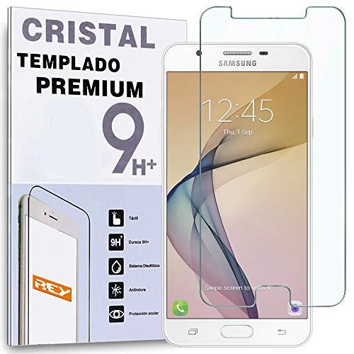 REY Protector de Pantalla para Samsung Galaxy J7 Prime, Cristal Vidrio Templado Premium