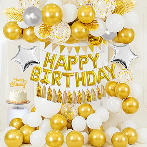 Decorazioni Compleanno Oro, Palloncini HAPPY BIRHTDAY Oro, Palloncini Oro Metallizzato, Palloncini Bianchi, Palloncini Grigi, Palloncini Coriandoli Oro, Striscione Oro, Palloncini Stella, Cake Topper