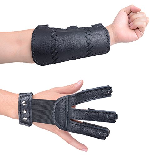 XTACER (Leather Finger Protector & Arm Guard 3-Strap Arm Guard with Three Fingers Design Archery Finger Protector Traditional Shooting Glove (Black - Leather Material)