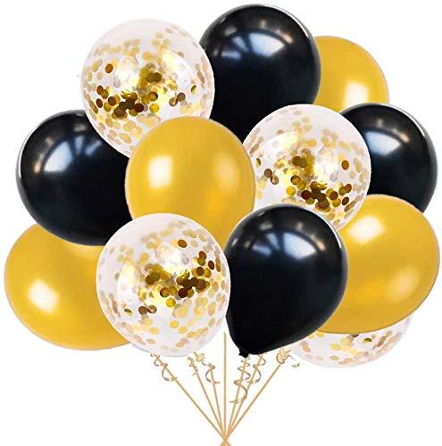 Ohighing 50 Stück Luftballons Schwarz Gold Ballons mit Gold Konfetti Luftballon für Damen Herren Geburtstag Abschluss Party Deko (ca.30cm)