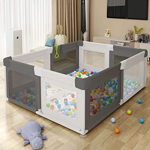 Baby Playpen, Centro de Juegos de Seguridad para niños portátil, Cerca de Play Play Anti-Fall Play, Cercaquíes para bebés, (Talla:150x180x68cm)(No incluye bolas)