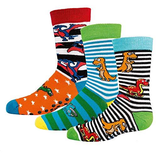 TippTexx 24 6 Paar Ökotex Kinder Stoppersocken, ABS Socken für Mädchen und Jungen, Strümpfe mit Noppensohle, viele schöne Muster (Dino, 27-30)