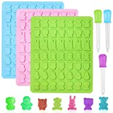 3 Pack 49-Cavity Animal Silicone Mold,YuCool Nonstick Mini Bear Pandas Bunny Monkeys Mold for Candy Chocolate Jelly Ice Cube