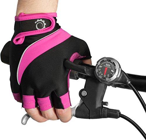 GearTOP Fahrradhandschuhe – Halbfinger-Handschuhe für Reiten, Gewichtheben, Radfahren und mehr – Sporthandschuhe für Damen und Herren (Rosa, Schwarz, Groß)