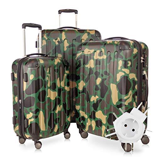 Hauptstadtkoffer - Spree - 3er-Koffer-Set Trolley-Set Rollkoffer Reisekoffer-Set Erweiterbar, TSA, 4 Rollen, (S, M & L), Camouflage +Universal Reiseadapter