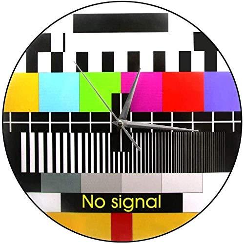 Wanduhr Ich Liebe TV Retro TV Test Wanduhr Einstellsignal Startseite Wandkunst Funky TV Glitch Error Screen Test Regenbogen Vintage Uhr Lautlos Leicht zu lesen