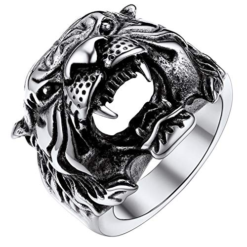 U7 Mens Vintage Biker Ring, Stainless Steel Antique Black Punk Jewelry Tiger Head Ring Animal Rings, Size 9