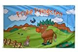 Fahne / Flagge Frohe Pfingsten mit Kuh + gratis Sticker, Flaggenfritze®
