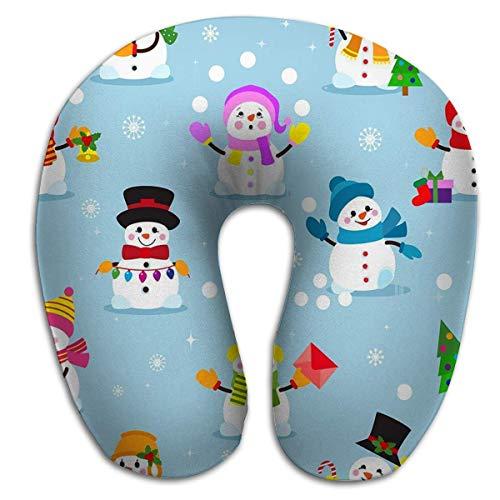 Almohada en Forma de U, Transpirable Suave Cómodo Muñeco de Nieve Dibujos Animados Invierno Navidad Personaje Vacaciones Feliz Navidad Nieve Niños Niñas Copo de Nieve Año Nuevo PLW-030