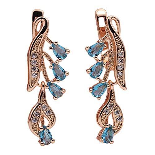 Ruby569y Pendientes colgantes para mujeres y niñas, 1 par de simples mujeres gota de agua circonita cúbica colgante largo accesorio de joyería - azul cielo