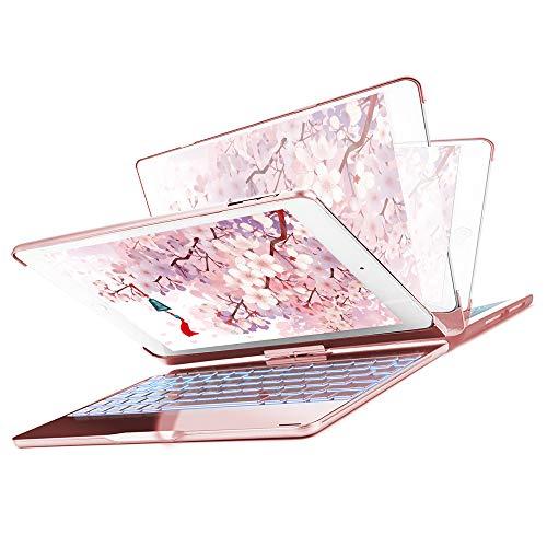 Funda con Teclado para Nuevo iPad 9.7 2018-iPad 9.7 2017-iPad Air 2-iPad Air-iPad Pro 9.7, SENGBIRCH 7 Colores Bluetooth Inalámbrico Retroiluminado-360 Rotaciones-Funda con Teclado para iPad, Oro Rosa