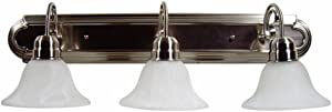 Y Décor L23-SN Modern, Transitional, Traditional 3 Light Bathroom Vanity Fixture Satin Nickel with White Glass By , Satin Nickel, Silver