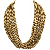 Gypsy Jewels 8 Row Layered Wood Beads Chunky Statement Necklace (Medium Brown Tan)