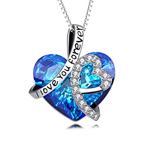 Heart Necklace 925 Sterling Silver I Love You Forever Pendant Necklace with Blue Swarovski Crystals...