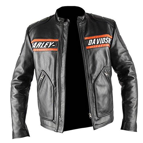 WWE Bill Goldberg Harley Davidson Vintage Motorrad Lederjacke Gr. Large, Schwarz