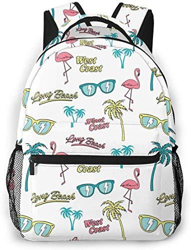 Cartoon Palm Trees Gafas de Sol y Flamingo Mochila de Viaje Ligera Mochila Escolar Informal para Mujeres y Adolescentes Regalo