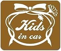 imoninn KIDS in car ステッカー 【マグネットタイプ】 No.29 お花リボン (ゴールドメタリック)