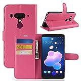 Funda® Capirotazo Billetera Funda para HTC U12 Plus (Rosa Roja)