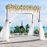 5M x 1.35M(16.4 x 4.4 FT) Organza Voitures nœud Chaise Organza écharpe de Chaise Chemin de Table Jupe bannière décorations Mariage Ceremonie Anniversaire Fête (Blanc)