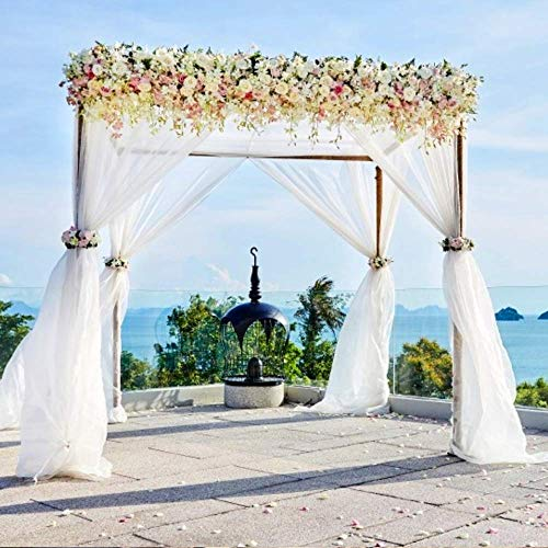 BITFLY 5M x 1.35M Sheer Organza Swag DIY Tela de la boda de la tapa de la tabla de eventos Decoración Partido Escalera arco Valance tabla falda - 30 colores disponibles Blanco