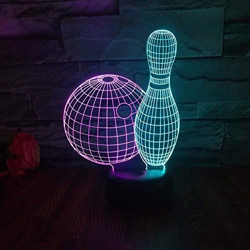 hqhqhq Kreative Bowlingkugel 3D-Illusionslampe LED Nachtlichter USB Touch Atmosphere Lampe Baby Schlaf Beleuchtung Geschenk für Kinder Boy Mit Fernbedienung -1314