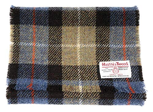 Scott MacKenzie Schal aus Harris Tweed-Wolle, Blau und Beige