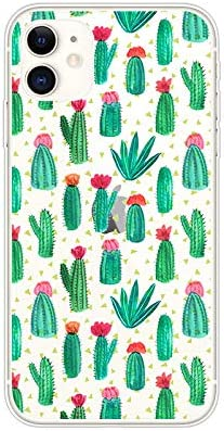 FancyCase Compatible with iPhone 11-New Cactus Pattern Soft Silicone Protective Clear iPhone 11 Case by FancyCase (Green Cactus)