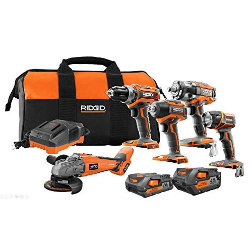 Ridgid 18-V Lithium-Ion Brushless Cordless 5 Tool Combo Kit with 1 4.0 Ah Battery, 1 2.0 Ah Battery Charger & Bag