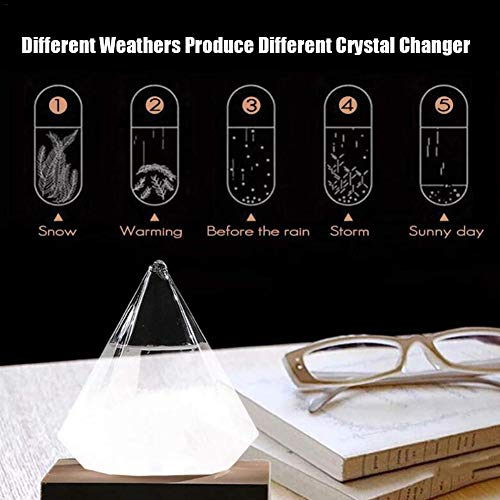 Wustrious Diamond Storm Glass Delicate Weather Forecast Crystal Weather Station Small Size Weather Forecast Glass Bottle Barometer Home and Office Decoration Best Gift (15.5x12.5x12cm)