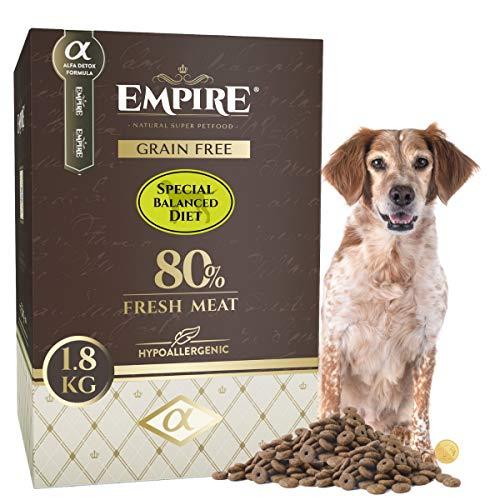 Empire Hypoallergen Hundefutter Trocken-Getreidefrei-Senior, Kastrierte, Fettleibige Hunde-Alle Rassen-1,8kg-Glutenfrei-80% Frisches Fleisch-100% Natürlich-Super Premium