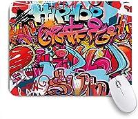 VAMIX マウスパッド 個性的 おしゃれ 柔軟 かわいい ゴム製裏面 ゲーミングマウスパッド PC ノートパソコン オフィス用 デスクマット 滑り止め 耐久性が良い おもしろいパターン (グラフィティグラフィックヒップホップストリートカルチャーハーレムニューヨークシティウォールグラフィティアートスプレーアートイメージ)