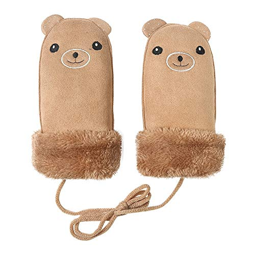 KAILLEET Weihnachten Handschuhe Warme Kinder Cartoon Handschuhe Winter Plus Samtverdickung Fäustlinge (Farbe : Braun, Size : 8x9cm)