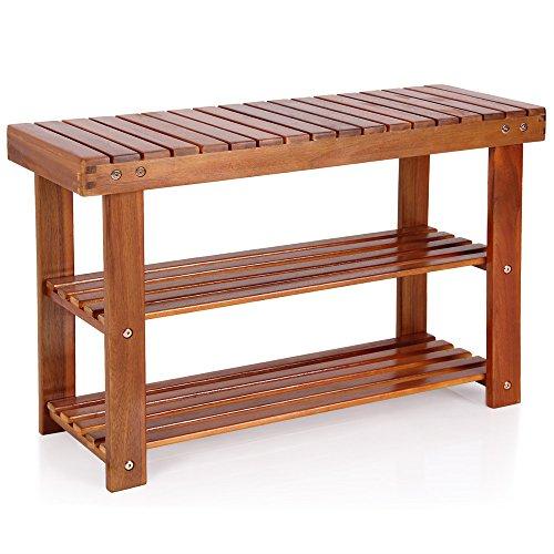 Deuba Schuhbank Schuhregal mit Sitzfläche Sitzbank Holz 3 Ebenen 70 x 46 x 30 cm Akazie Massiv Schuhablage Holzregal Bad