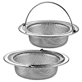 2 Pack Upgrade Kitchen Sink Strainer (Sink Drainer Strainer) - 304 Stainless Steel Rust Free, Fordable Handle, 4.5 Inch Diameter