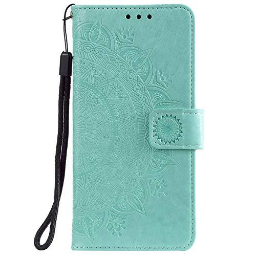 Tosim Galaxy Note 10 Hülle Leder, Klapphülle mit Kartenfach Brieftasche Lederhülle Stossfest Handyhülle Klappbar Case für Samsung Galaxy Note10 - TOHHA080257 Grün