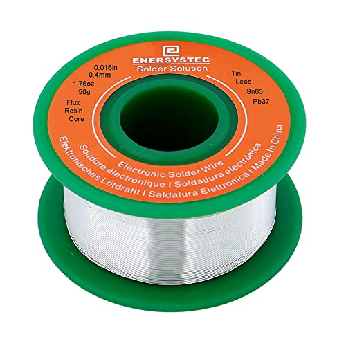Ultra Thin Solder Wire 0.4mm Electronics Solder Rosin Core Tin Lead Sn63 Pb37 Fine Gauge Electrical Soldering 0.016in 1.76oz Soldering for LED, Connector, 50g