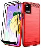 Aliruke Schutzhülle für LG K52, mit Bildschirmschutzfolie aus gehärtetem Glas, 2 Stück, dünn, stoßfest, TPU, flexibel, Rot