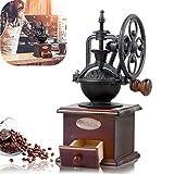 Moulin à café manuel, style vintage en bois grain de café Spice Grinder Moulin à grains moulin à café manivelle avec moulin à café en céramique