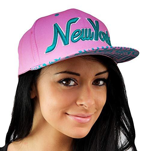 State Property New York Rosa/Turquesa Gorra Snapback, Hombre Mujer, Dope Visera Plana NY Unisex Azteca Gorras de Béisbol, Hip Hop