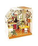 Robotime Dollhouse Kit Rénovation de meubles Woodcraft Kit de Construction Mini Maison de Bricolage à la Main Avec Lumières et Accessoires Miniature Home Decor Décor de Noël (Kitchen)