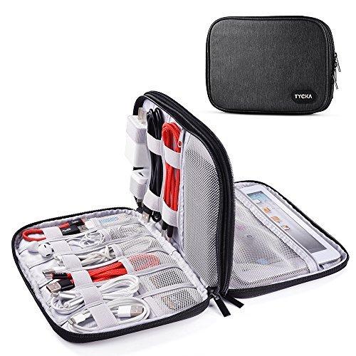 TYCKA Sac de Rangement de câbles, Organisateur de Voyage pour Accessoires Electronique, Câble, Cordon, Mini iPad, Kindle, USB, Cartes SD, Chargeurs, Gris Foncé