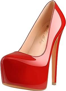 Women's Round Toe Super High Heel Platform Stiletto Slip On Pumps for Wedding Party Shoes