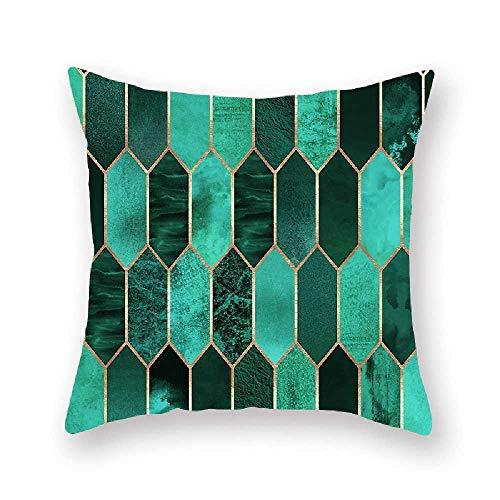 Kissen Home Geometrische Kissenbezug Druck Kissen Umranden Sofa Bett Kissen 45 * 45cm*2/ Grün 11