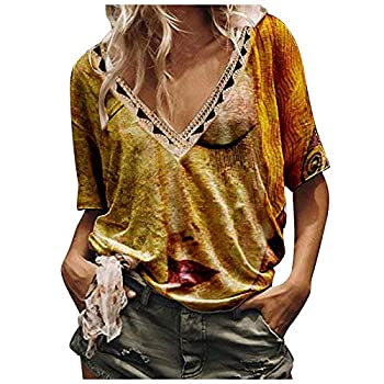 Boho Shirts for Women Ethnic Print Floral T Shirt Summer Casual Short Sleeve V Neck Tees Loose Fit Tunic Top Blouse Tops Yellow