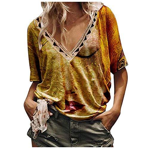 YANFANG Tops De Manga Corta con Cuello En V Y Estampado Bloqueo Color Suelto Moda Casual para Mujer,Camisa Blusa TNica Camiseta,Morado