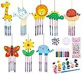 Carillones de Viento para jardín Kit de Manualidades para niños Carillones de Viento de Animales Carillones de Madera al Aire Libre Garden Sun Catchers para Que los niños decoren y exhiban