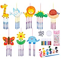 vamei 8PCS Wood Wind Chimes DIY Wooden Wind Chimes for Garden Craft Kit for Kids Wood Art and Craft for Kids Indoor Outdoor Garden Crafts for Kids Toys Party Favors for Kids Windchimes Paint for Kids