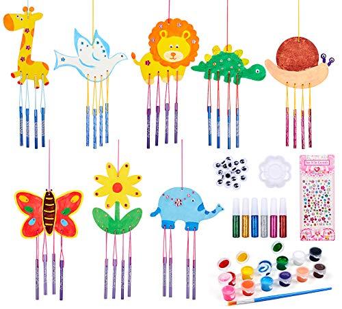 vamei 8 Stück Bastelset Kinder Windspiel für Draußen DIY Bastelset Holz Windspiele zum Basteln Windspiel Garten Klangspiel Holz Bastelset Kinder DIY Handarbeit Kreatives Bastelset für Kinder