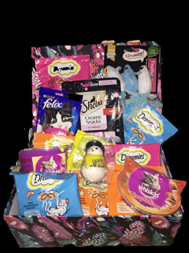Hamper Filled With Cat Treats And Toys.